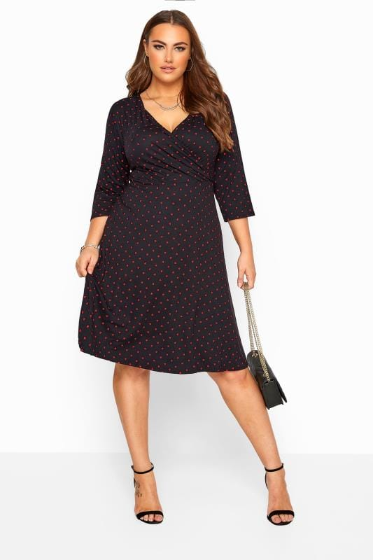 YOURS LONDON Black Heart Print Wrap Dress
