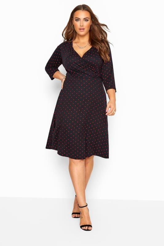 Black Dresses YOURS LONDON Black Heart Print Wrap Dress