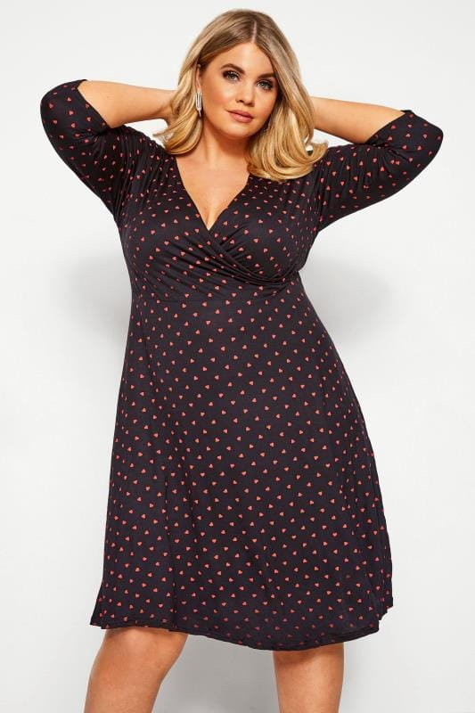 Plus Size Black Dresses YOURS LONDON Black Heart Print Wrap Dress
