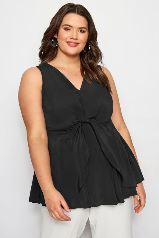 Plus Size Vests & Camis YOURS LONDON Black Knot Front Peplum Vest