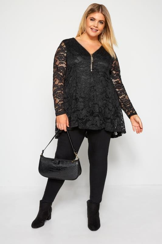 YOURS LONDON Black Lace Godet Zip Front Top