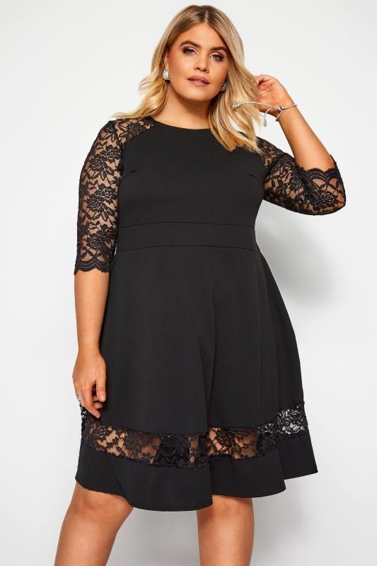 Plus Size Black Dresses YOURS LONDON Black Lace Skater Dress