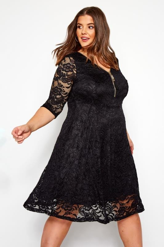 Plus Size Evening Dresses YOURS LONDON Black Lace Zip Front Dress