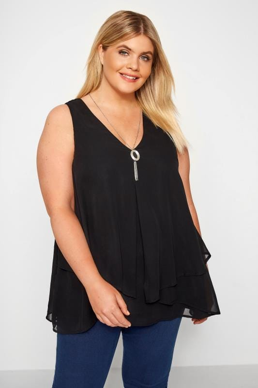 Plus Size Vests & Camis YOURS LONDON Black Layered Chiffon Top