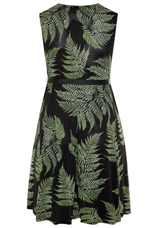 YOURS LONDON Black Leaf Print Skater Dress