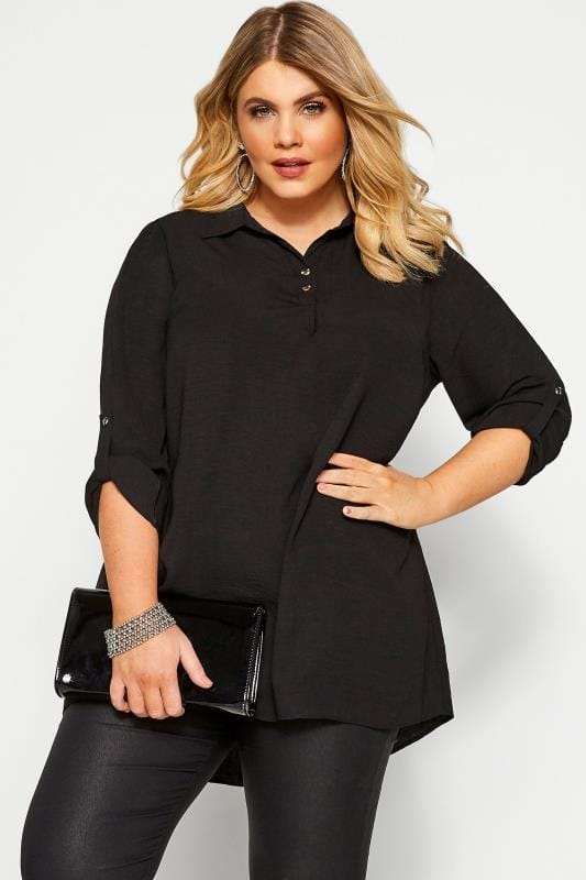 Plus Size Shirts YOURS LONDON Black Linen Look Overhead Shirt