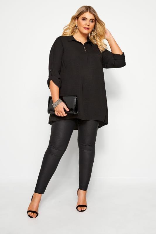 YOURS LONDON Black Linen Look Overhead Shirt
