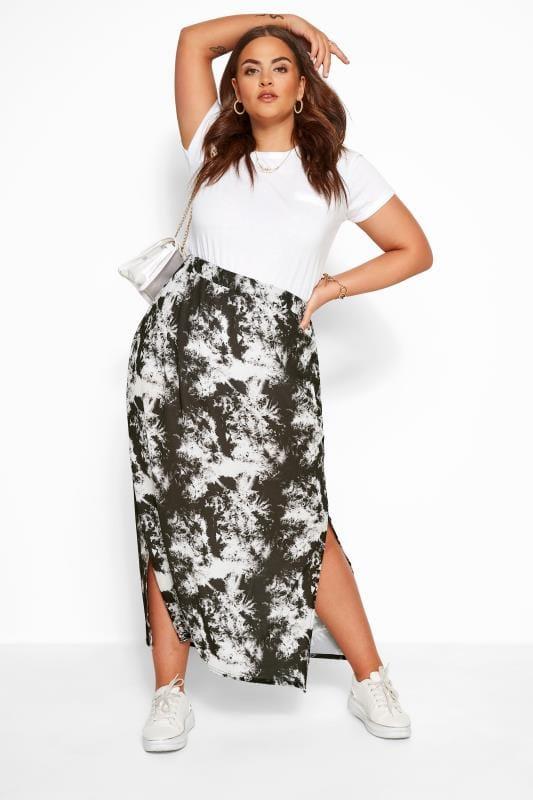 Plus Size Maxi Skirts YOURS LONDON Black Marble Print Maxi Skirt