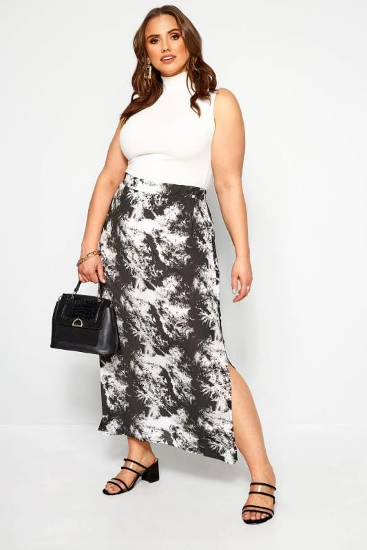 Plus Size Maxi Skirts YOURS LONDON Black Marble Print Maxi Skirt