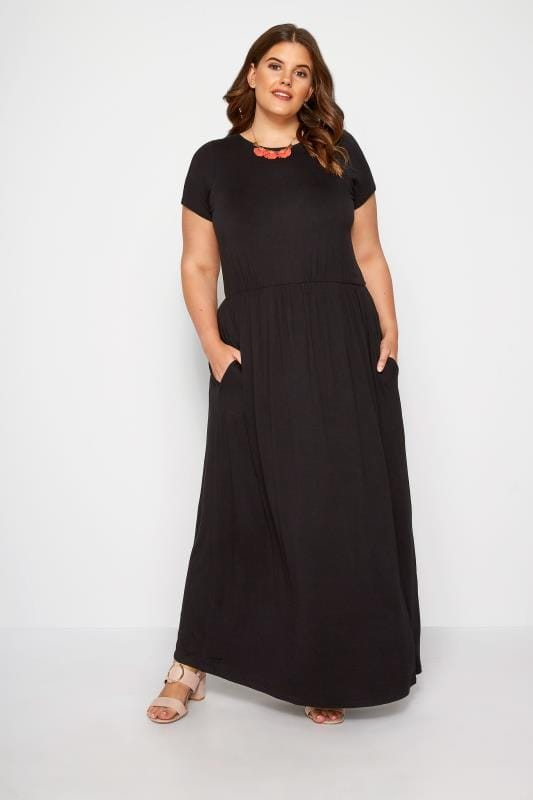 Plus Size Maxi Dresses YOURS LONDON Black Pocket Maxi Dress