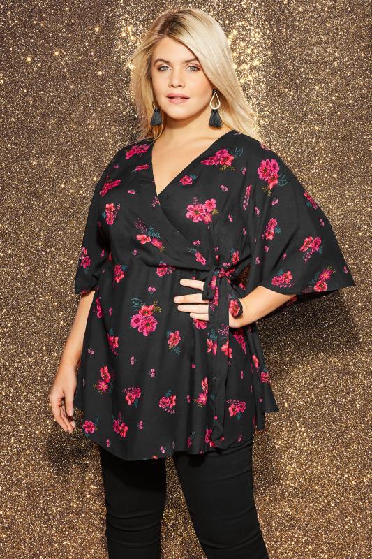 YOURS LONDON Black & Pink Floral Kimono Wrap Blouse