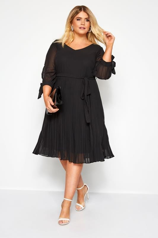 YOURS LONDON Black Pleated Dress
