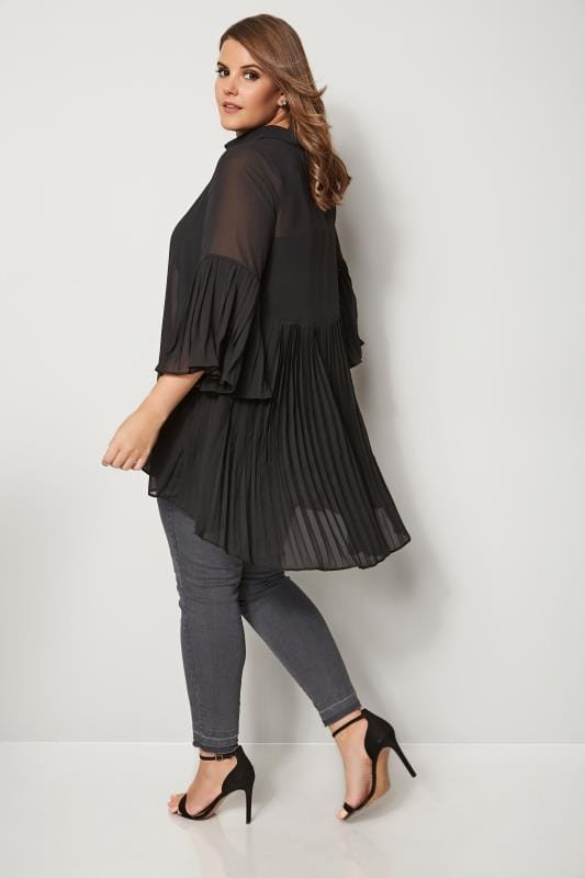 Plus Size Shirts YOURS LONDON Black Pleated Longline Shirt