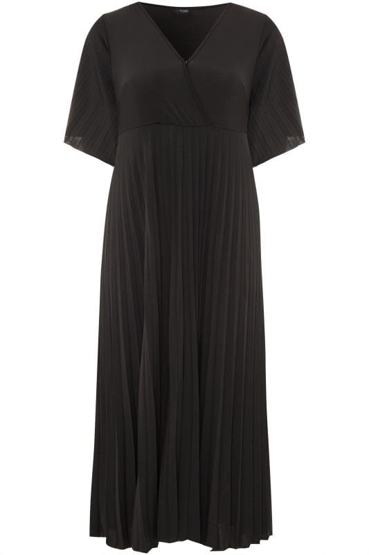 YOURS LONDON Black Pleated Maxi Dress