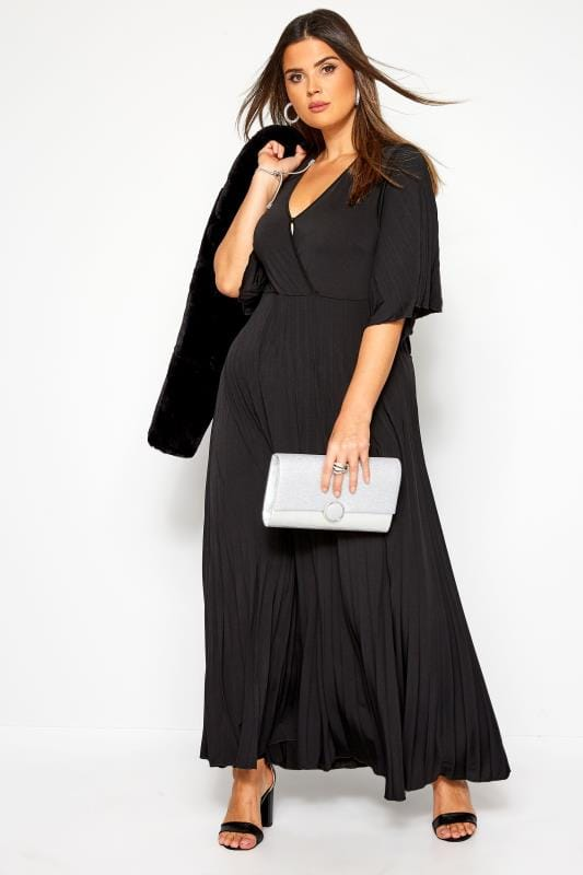 maxi-jurken YOURS LONDON Black Pleated Maxi Dress