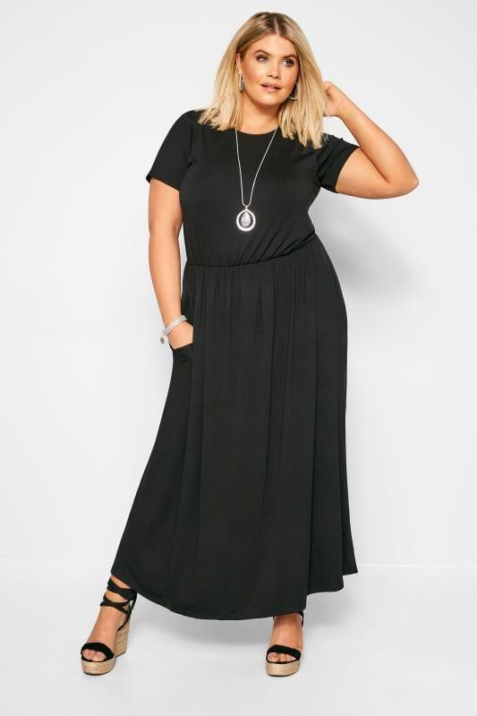 Plus Size Black Dresses YOURS LONDON Black Pocket Maxi Dress