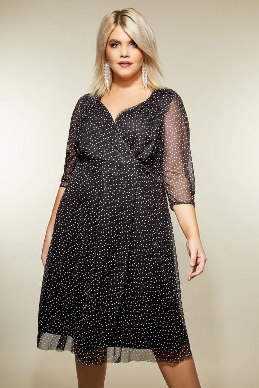 YOURS LONDON Zwarte mesh jurk met stippen