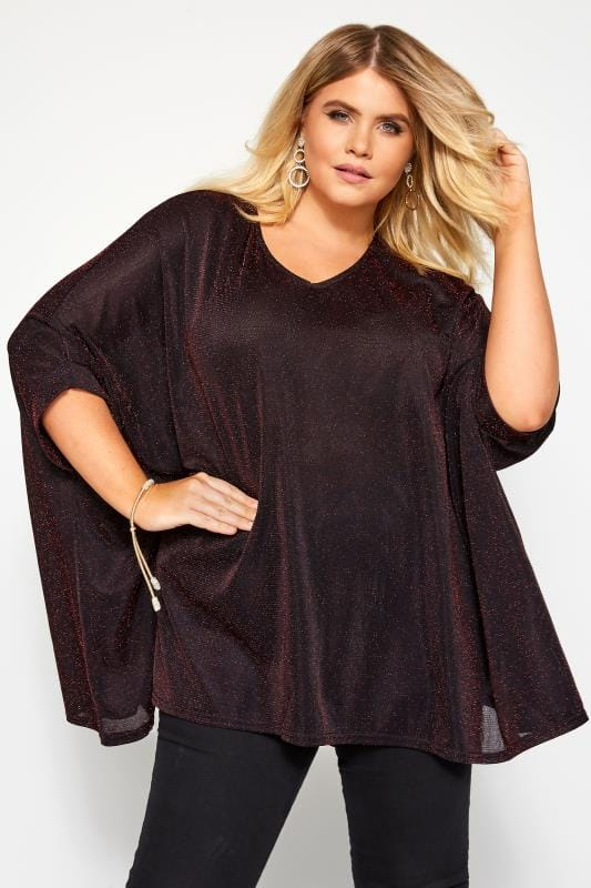 Plus Size Party Tops YOURS LONDON Black & Red Sparkle Cape Top