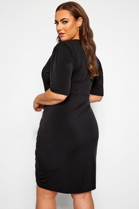 YOURS LONDON Black Ruched Wrap Dress