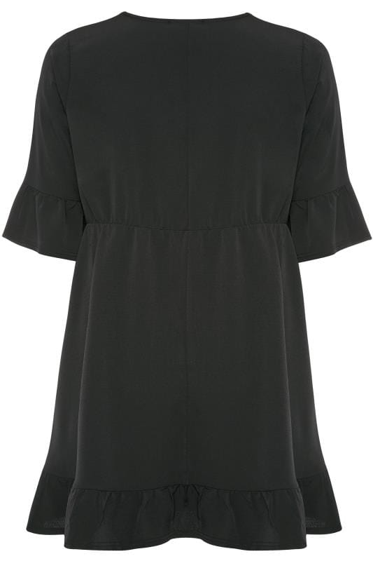 YOURS LONDON Black Ruffle Smock Tunic