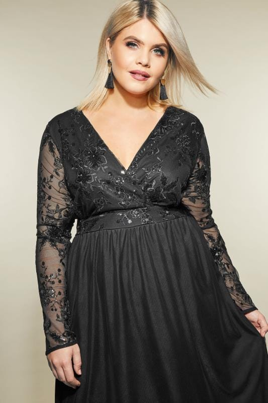 Yours London Black Sequin Embellished Lace Dress Plus Size