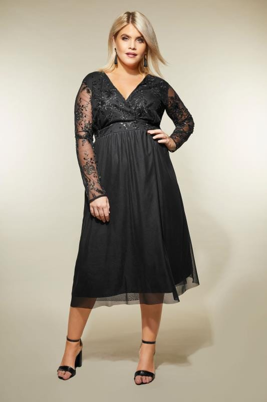 YOURS LONDON Black Sequin Embellished Lace Dress, Plus size ...