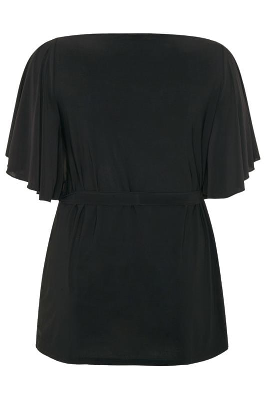 YOURS LONDON Black Slinky Belted Top
