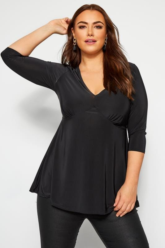 Plus Size Party Tops YOURS LONDON Black Slinky Top