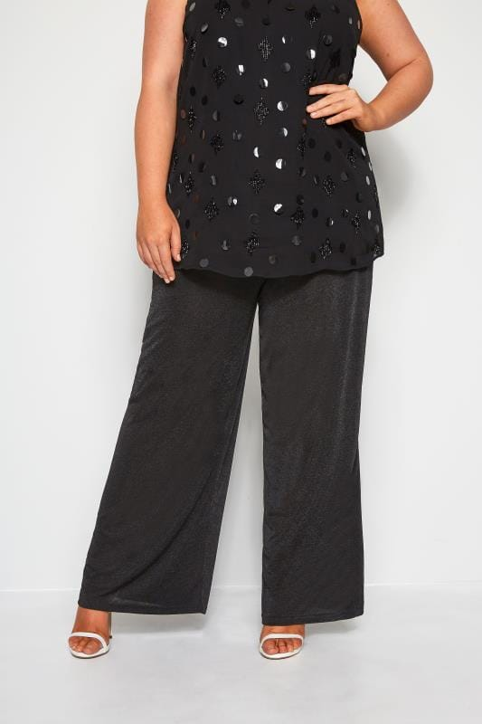 Plus Size Wide Leg & Palazzo Trousers YOURS LONDON Black Slinky Wide Leg Trousers