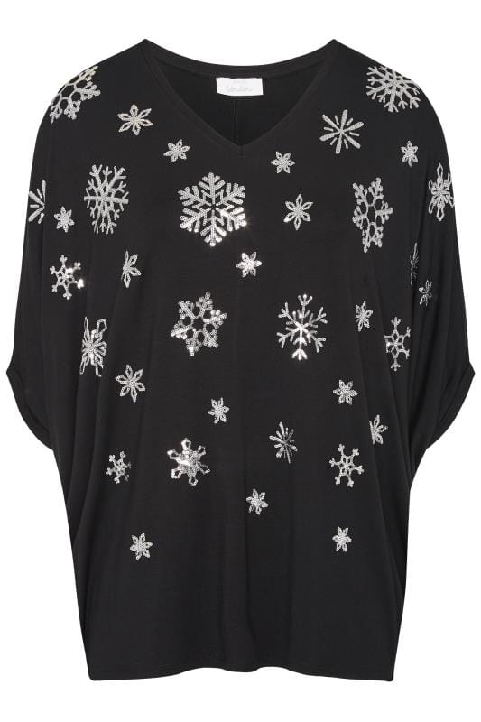 YOURS LONDON Black Snowflake Cape Top