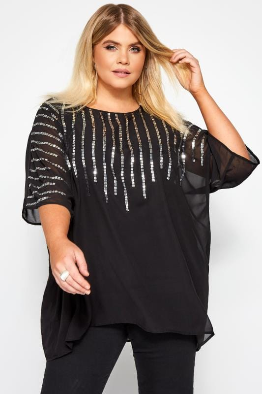 Plus Size Chiffon Blouses YOURS LONDON Black Square Sequin Cape Top