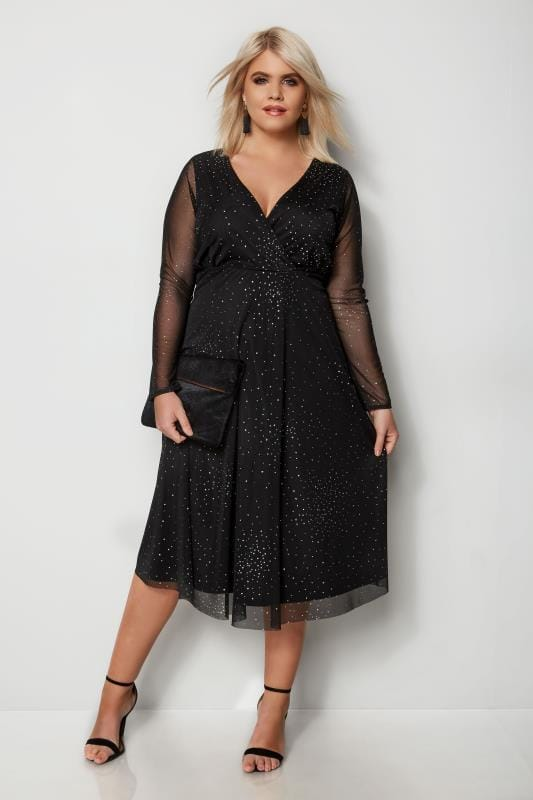 YOURS LONDON Black Star Burst Glittery Mesh Dress