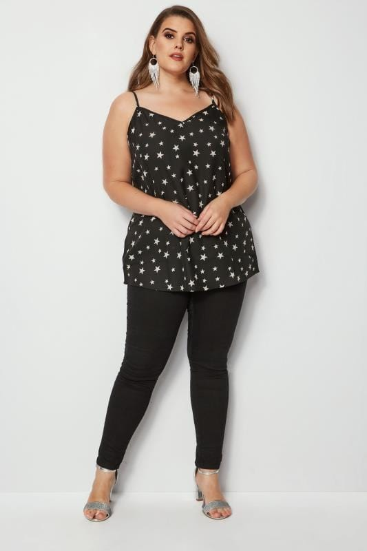 YOURS LONDON Black Star Cami