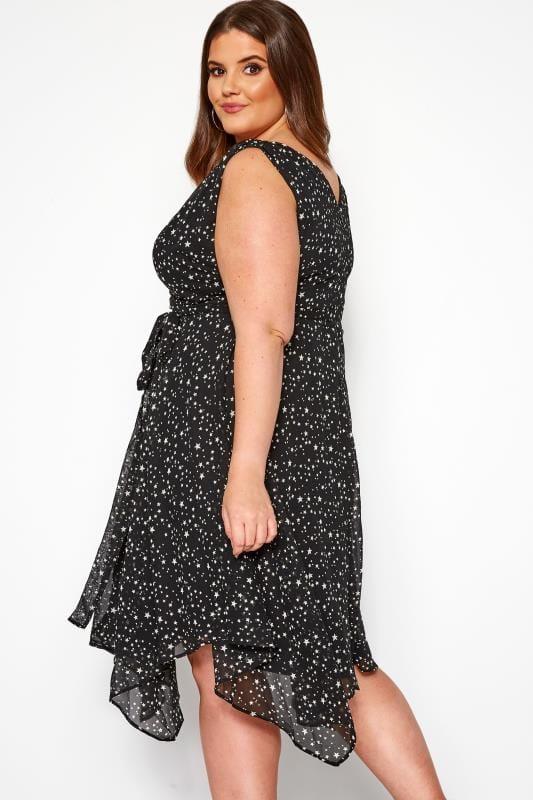 YOURS LONDON Black Star Hanky Hem Wrap Dress