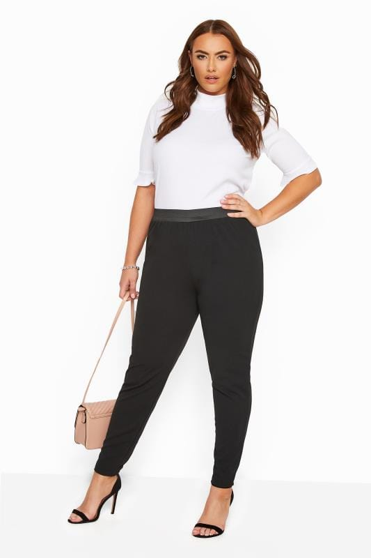 Tapered & Slim Fit Trousers Grande Taille YOURS LONDON Black Tapered Trousers