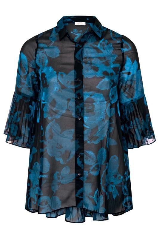 YOURS LONDON Black & Teal Blue Floral Pleat Back Shirt