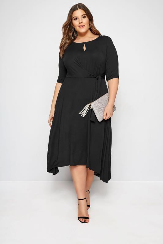 YOURS LONDON Wickelkleid mit Schlüsselloch-Ausschnitt - Schwarz