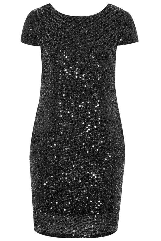 YOURS LONDON Black Tinsel & Sequin Shift Dress