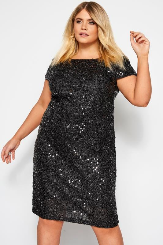 Plus Size Party Dresses YOURS LONDON Black Tinsel & Sequin Shift Dress