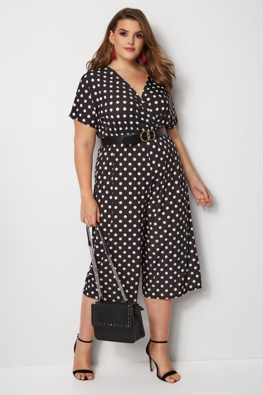 Plus Size Jumpsuits YOURS LONDON Black & White Polka Dot Jumpsuit