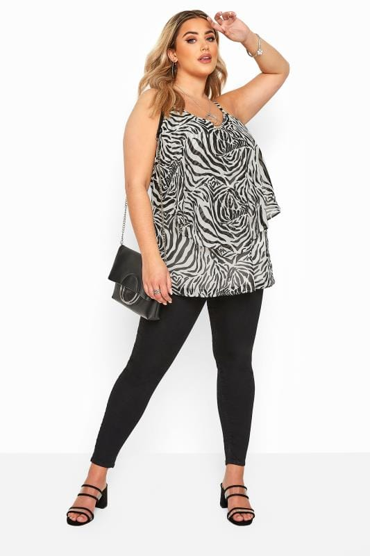 YOURS LONDON Black & White Zebra Print Layered Cami Top