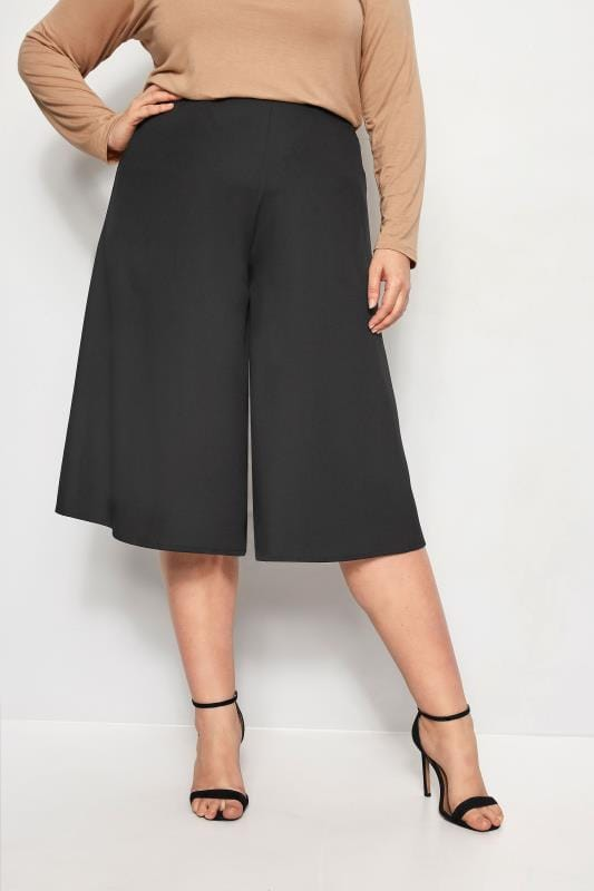 Plus Size Cropped Pants YOURS LONDON Black Wide Leg Culottes
