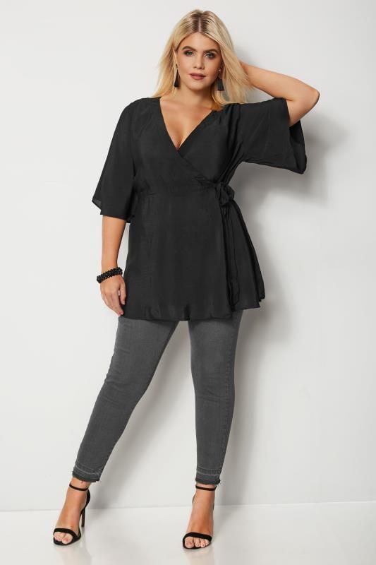 YOURS LONDON Black Wrap Blouse With Kimono Sleeves