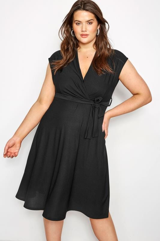 Plus Size Black Dresses YOURS LONDON Black Wrap Dress