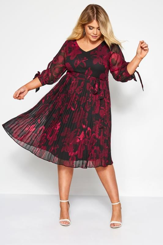 YOURS LONDON Black and Burgundy Floral Pleated Dress