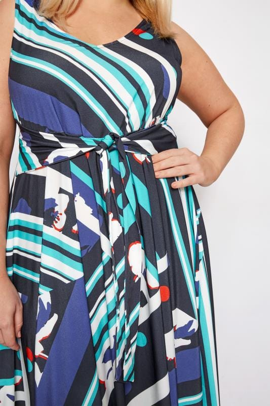 YOURS LONDON Blue Abstract Print Dress