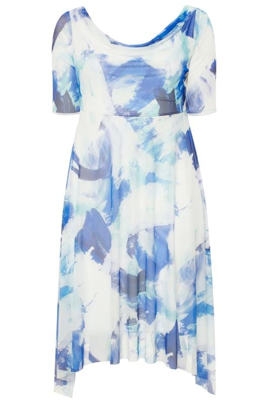 YOURS LONDON Blue Brushstroke Cowl Neck Dress