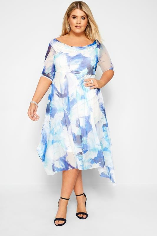 Plus Size Evening Dresses YOURS LONDON Blue Brushstroke Cowl Neck Dress