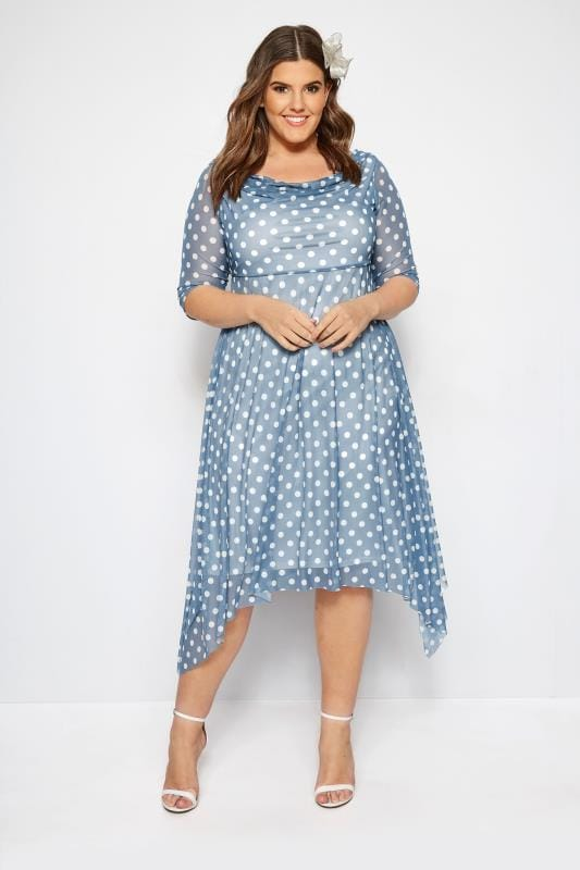 Plus Size Party Dresses YOURS LONDON Blue Polka Dot Midi Dress With Cowl Neck