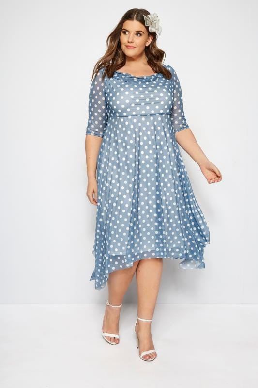 YOURS LONDON Blue Polka Dot Midi Dress With Cowl Neck